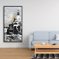 Framed 24 x 48 - Abstract city with typography