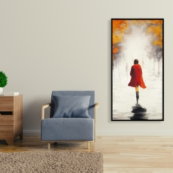 Framed 24 x 48 - Woman with a red coat by fall