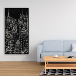 Framed 24 x 48 - Illustrative city towers