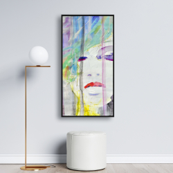 Framed 24 x 48 - Abstract colorful portrait