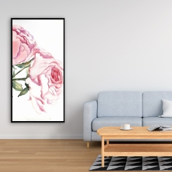 Framed 24 x 48 - Watercolor pink roses