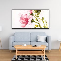 Framed 24 x 48 - Watercolor magnolia flowers