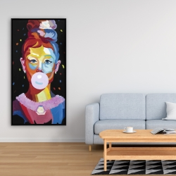 Framed 24 x 48 - Colorful audrey hepburn portrait with bubblegum
