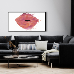 Framed 24 x 48 - Watercolor pink lipstick