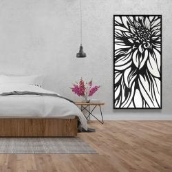 Framed 24 x 48 - Dahlia flower outline style