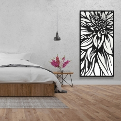 Framed 24 x 48 - Dahlia flower outline style