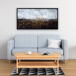 Framed 24 x 48 - Gold paint splash on gray background