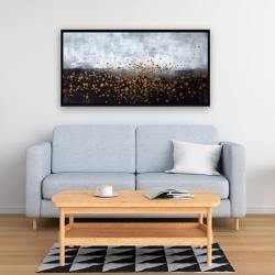 Framed 24 x 48 - Gold paint splash on gray background