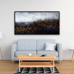 Framed 24 x 48 - Two shades of gray with gold dots