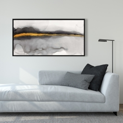 Framed 24 x 48 - Gold stripe abstract