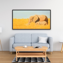 Framed 24 x 48 - Elephant and its little one
