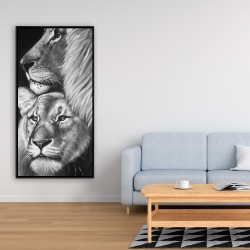 Framed 24 x 48 - Lion and lioness