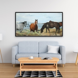 Framed 24 x 48 - Horses eating in the meadow
