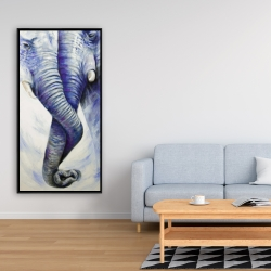 Framed 24 x 48 - Elephant couple loving each other