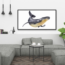 Framed 24 x 48 - Watercolor blue whale