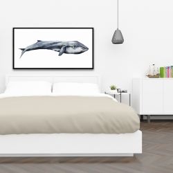 Framed 24 x 48 - Watercolor whale
