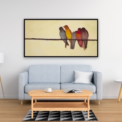 Framed 24 x 48 - Five birds on a branch