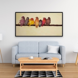 Framed 24 x 48 - Bird family