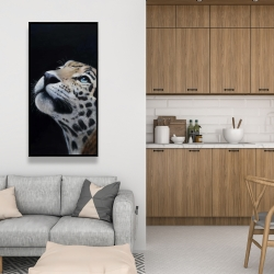 Framed 24 x 48 - Realistic leopard face
