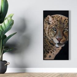 Framed 24 x 48 - Realistic fierce leopard