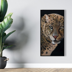 Framed 24 x 48 - Realistic fierce leopard