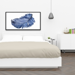 Framed 24 x 48 - Watercolor blue feather