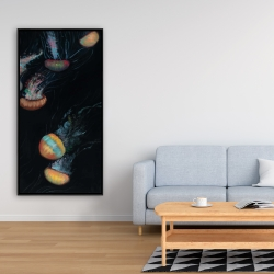 Framed 24 x 48 - Colorful jellyfishes swimming in the dark