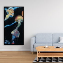 Framed 24 x 48 - Colorful jellyfishes in the dark