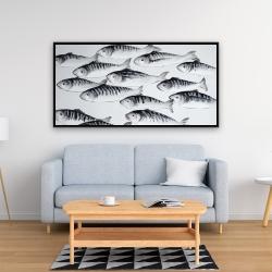 Framed 24 x 48 - Gray school of fish