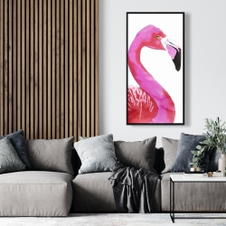 Framed 24 x 48 - Watercolor proud flamingo profile