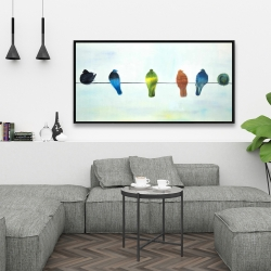 Framed 24 x 48 - Perched abstract birds