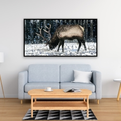Framed 24 x 48 - Caribou in the winter forest