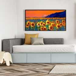 Framed 24 x 48 - Field of sunflowers