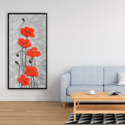 Framed 24 x 48 - Big red flowers
