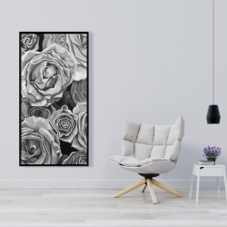 Framed 24 x 48 - Grayscale roses