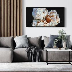Framed 24 x 48 - Blooming peonies