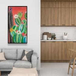 Framed 24 x 48 - Rainbow cactus