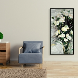 Framed 24 x 48 - Lisianthus white bouquet