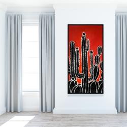 Framed 24 x 48 - Black tall cactus