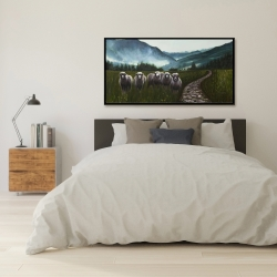 Framed 24 x 48 - Sheep in the countryside