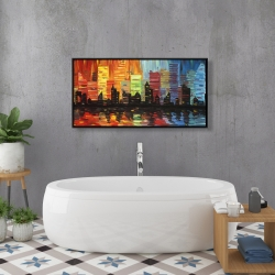 Framed 24 x 48 - Colorful cityscape