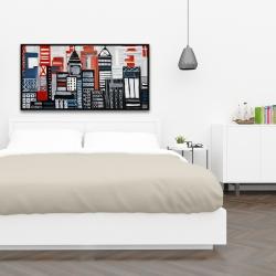 Framed 24 x 48 - Geometric urban landscape