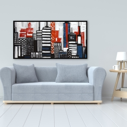 Framed 24 x 48 - Geometric towers and buildings