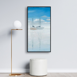Framed 24 x 48 - Two sailboats on the quiet lake