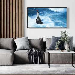 Framed 24 x 48 - Unleashed waves on a lighthouse