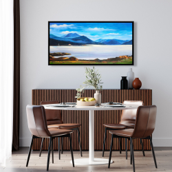 Framed 24 x 48 - Scottish highlands by a beautiful day