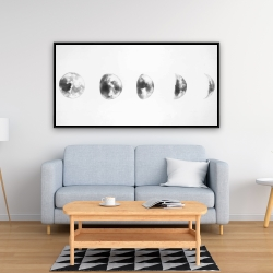 Framed 24 x 48 - Black and white eclipse