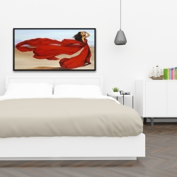 Framed 24 x 48 - Woman with a long red dress in the desert
