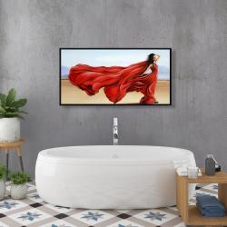 Framed 24 x 48 - Red dress in the desert