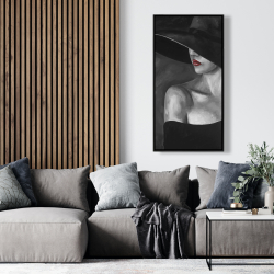 Framed 24 x 48 - Mysterious woman with a hat